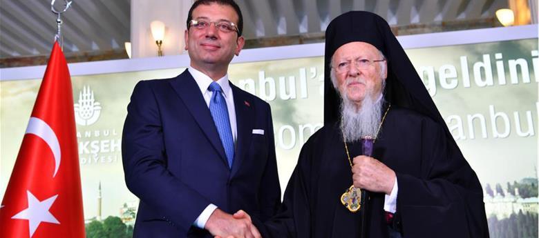 İBB Başkanı Ekrem İmamoğlu, Fener Rum Patriği Batholomeos'yu Saraçhane'deki makam odasında ağırladı.